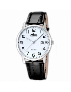 Reloj Hombre Lotus Clásico Acero Esfera Blanca Calendario