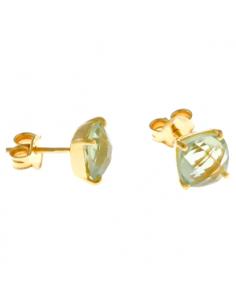 Pendientes Salvatore plata dorada piedra amatista verde