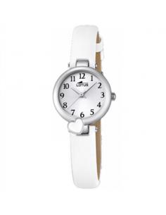 Reloj Niña Lotus Corazón Esmalte Blanco Esfera Blanca