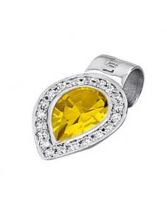 Colgante Lotus Silver plata gota circonita citrino