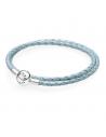 Pulsera Pandora Plata. Cuero Brillante. Azul Claro. 35cm.