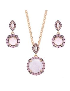 Collar Pendientes Plata Style Aristos Cristal Crack Rosa