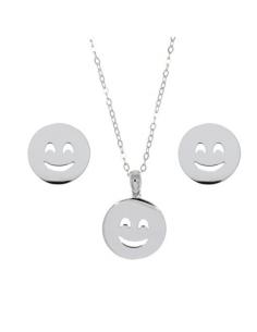 Collar Pendiente Plata Style Aristos Emoticono Sonriente
