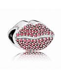Charm Pandora plata circonitas rojas labios