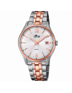 Reloj Hombre Lotus Clásico Calendario Acero IP Rosé