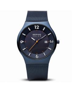 Reloj Hombre Bering Solar Acero IP Azul Calendario
